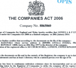 Certificate of good standing (Výpis o dobrém postavení společnosti z obchodního rejstříku v UK) s apostilou